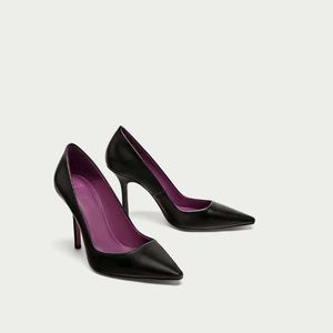 ZARA Black High Heel Leather Court Shoes Size 10